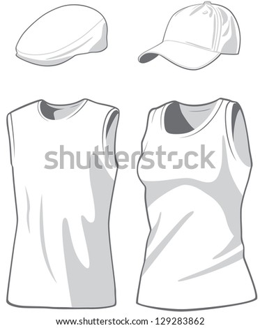 Shirts and caps. Raster version, vector file available in portfolio. - stock photo