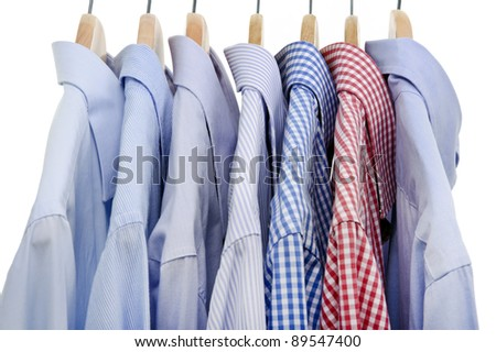 shirts isolated on white background and hanger - stock photo