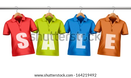 Shirts with price tags hanging on hangers. Concept of discount shopping. Raster version - stock photo