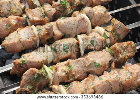 Shish kebab on hot grill - stock photo