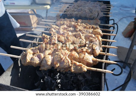 shish kebab on skewers on the grill - stock photo
