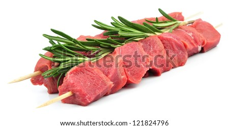 shish kebab on the white - stock photo
