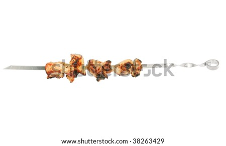 Shish kebabs on a white background - stock photo