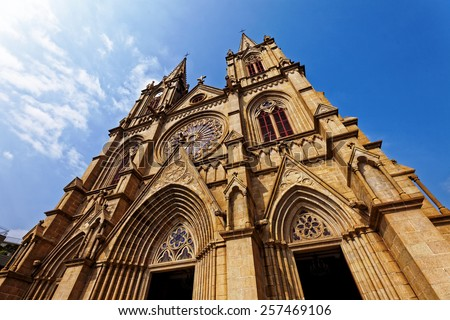 Shishi Sacred Heart Cathedral in Guangzhou China at day - stock photo