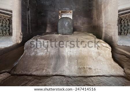 Shiva lingam in Elephanta caves near Mumbai, India - stock photo