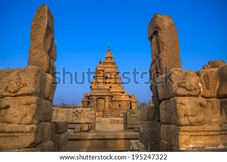 Shiva temple on the shore of bay of bengal built by the pallava kings - stock photo