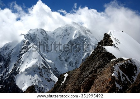 Shkhara peak and ridge of peak Sella in the Central Caucasus