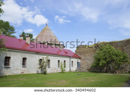 SHLISSELBURG, RUSSIA - JULY 15, 2014: Secret House - an old prison for political prisoners in the fortress Oreshek - stock photo