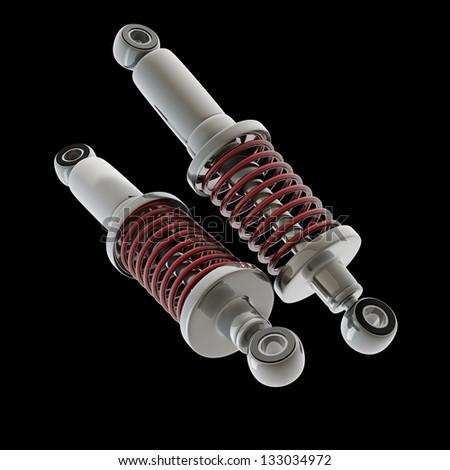 shock absorber car isolated on black background. High resolution 3d render - stock photo