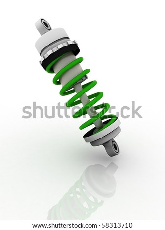 Shock-absorber isolated on white - stock photo