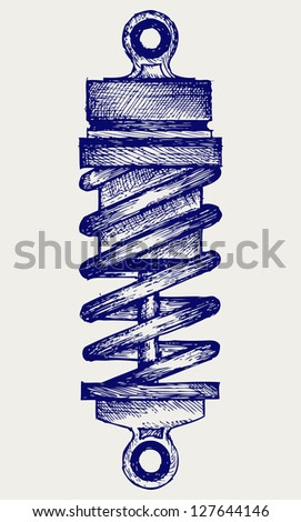 Shock absorbers. Doodle style. Raster version - stock photo