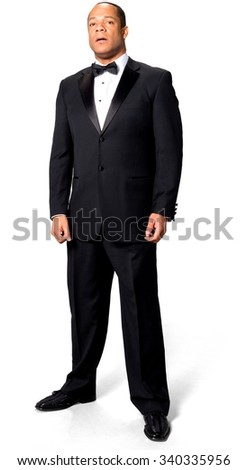 Shocked African man with short black hair in evening outfit holding Breath - Isolated