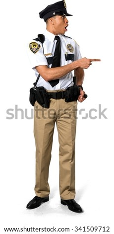 Shocked African young man with short black hair in uniform holding prop - Isolated