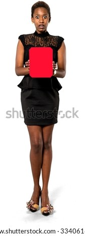 Shocked African young woman with short dark brown hair in evening outfit holding medium sign - Isolated - stock photo