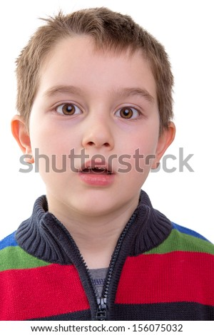 Shocked and amazed look from a eight years old kid - stock photo