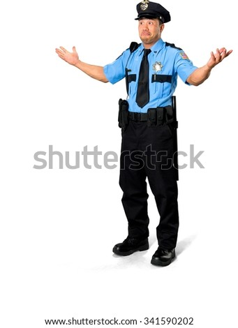 Shocked Asian man with short black hair in uniform with arms open - Isolated