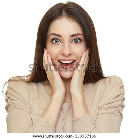 Shocked beautiful woman with opened mouth looking. Isolated closeup portrait on white background - stock photo