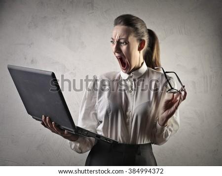 Shocked businesswoman - stock photo