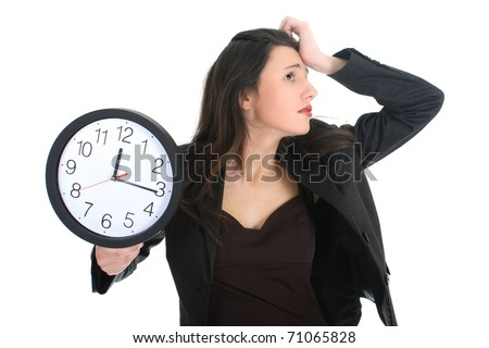 Shocked businesswoman with clock over white - stock photo