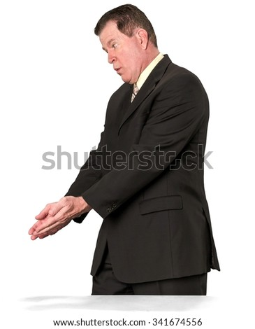 Shocked Caucasian elderly man with short medium brown hair in business formal outfit cupped hands - Isolated