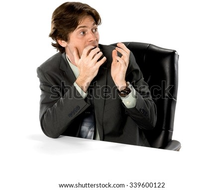 Shocked Caucasian man with short dark brown hair in business formal outfit talking with hands - Isolated