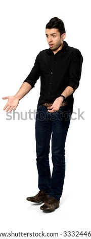 Shocked Caucasian man with short dark brown hair in casual outfit pointing using palm - Isolated