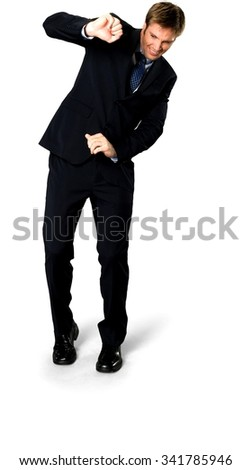 Shocked Caucasian man with short medium blond hair in business formal outfit defending with body - Isolated