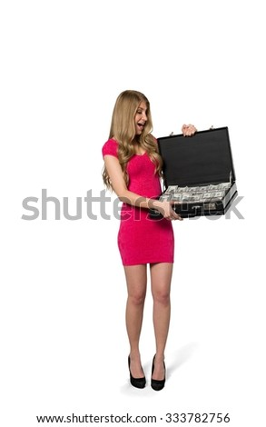 Shocked Caucasian young woman with long light blond hair in evening outfit holding briefcase - Isolated