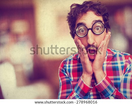 shocked crazy man - stock photo