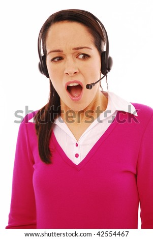 Shocked customer service operator on a white background - stock photo