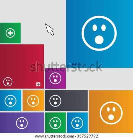 Shocked Face Smiley icon sign. Metro style buttons. Modern interface website buttons with cursor pointer. illustration
