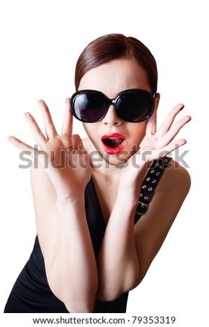 Shocked fashion icon - stock photo