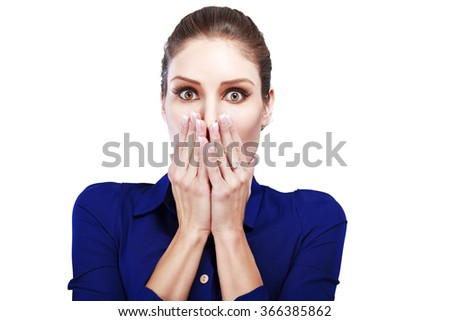 shocked frightened business woman with blank copy space,Closeup portrait beautiful Asian woman,Thai girl,Positive human emotion facial expression,isolated on white background - stock photo