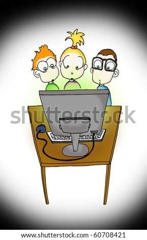 shocked kids watching computer screen - stock photo