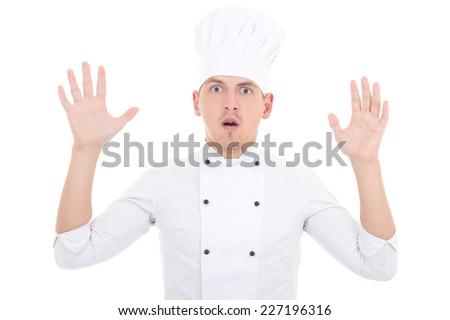 shocked man in chef uniform isolated on white background - stock photo