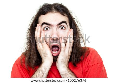 Shocked Man with Red T-Shirt Isolated on White