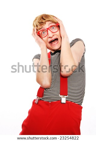Shocked nerd, please check for similar in my portfolio - stock photo
