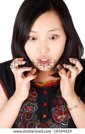 Shocked or surprised asian woman - stock photo