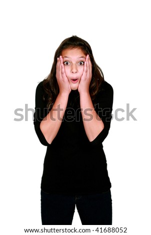 shocked pretty young preteen girl with long dark hair - stock photo