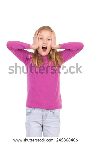 Shocked. Shouting young girl holding head in hands. Three quarter length studio shot isolated on white. - stock photo