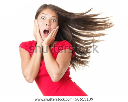 Shocked woman portrait isolated on white. - stock photo