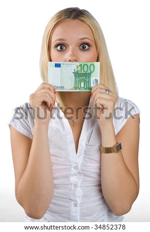 shocked woman with euro bill on her mouth - stock photo