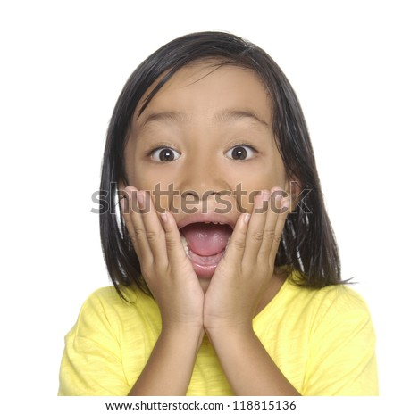 Shocked Young little girl - stock photo