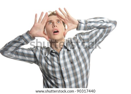 shocked young man over white - stock photo