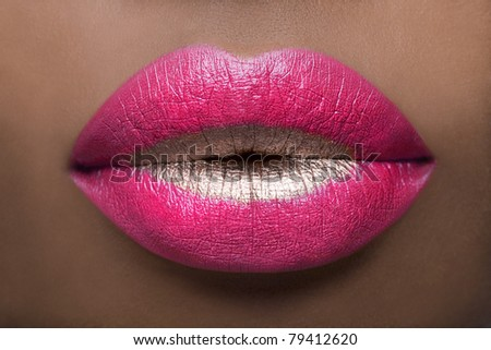 Shocking Pink Lips - stock photo