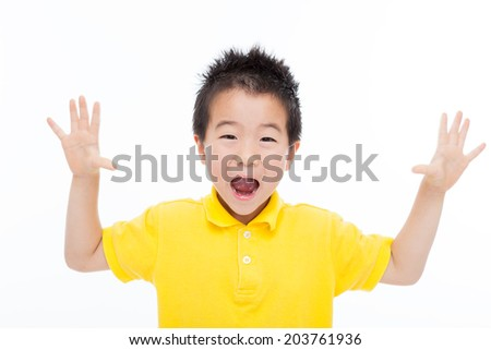 Shocking young Asian boy isoalted on white. - stock photo