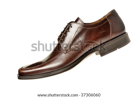 shoe a brown leather - stock photo