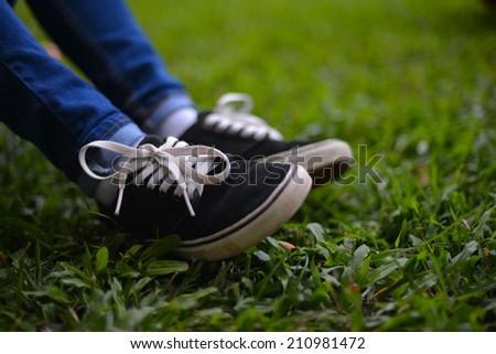Shoe on grass - stock photo