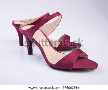 shoe or red colour woman shoes on background