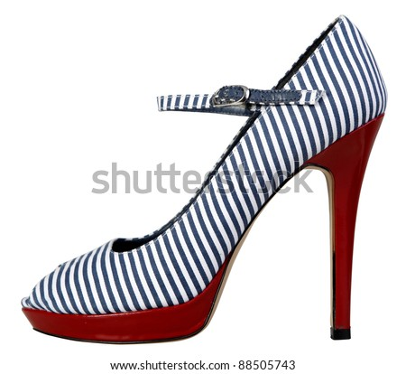 Shoe with blue stipes and red heel - Clipping path - stock photo